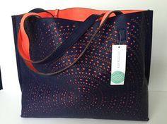 Street Level brand tote, Kaelyn Laser Cut Two Tone Reversible Tote in Navy Blue and Orange - love these colors for spring!