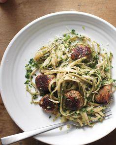 Broccoli Rabe Pesto with Whole-Wheat Pasta and Turkey Sausage