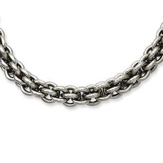 "Stainless Steel Double Oval Link Chain Necklace 18 Inch The Black Bow. $79.00. Polished 316l stainless steel. Average weight 58.27 grams. Double oval link design. Measures 7mm wide by 18"" long. Save 63% Off!"
