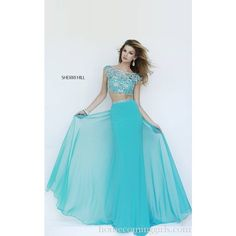 Beads Sherri Hill 11197 Jersey 2 Piece Prom Dress ❤ liked on Polyvore featuring dresses, two piece prom dresses, two piece dresses, sherri hill two piece, 2 piece dress and sherri hill