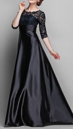 A-line Jewel Floor-length Stretch Satin And Lace Mother of the Bride Dress