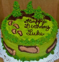Sasquatch Theme Party | Bigfoot themed birthday cake (2-layer) 10-inch round cake with all ...