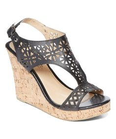 Look what I found on #zulily! Black Donya Wedge Sandal #zulilyfinds
