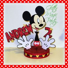 Mickey Mouse Centerpiece Personalized with Name and Age - Mickey Mouse Party Decoration