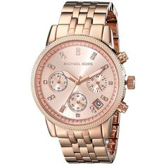 Michael Kors MK6077 - Ritz Watches ($250) ❤ liked on Polyvore featuring jewelry, watches, stainless steel jewellery, water resistant watches, bracelet watches, dial watches and analog wrist watch