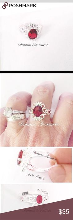 🎉Ruby Red Crystal Birthstone/Fashion Ring This red crystal is approximately 1.25 carats. It sits in an ornate stylized flower - silver filled setting. It's very lightweight and comfortable. Makes a great gift!  #0741-1 Jewelry Rings