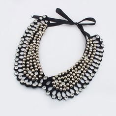 Wholesale Gorgeous Elegant Rhinestoned Solid Color Beading Fake Collar Necklace For Women (SILVER), Necklaces - Rosewholesale.com