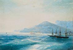 Ivan Aivazovsky. - Ships near coastline. 1886