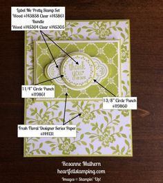 Stampin Up Label Me Pretty Thank You Cards Ideas - Rosanne Mulhern Post It Note Holders, Parchment Craft, Circle Punch, Pretty Cards, Stamping Up, Creative Cards, Paper Design, Thank You Cards, Birthday Cards