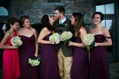 Bridesmaid Dress Trend Spotting | Our first pick from Style Me Pretty features a junior bridesmaid in a different (contrasting) color to make her stand out. This is a great way to honor a Maid (Matron) of Honor as well!