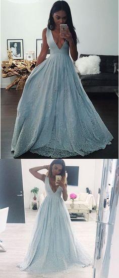 Beautiful Prom Dresses A-line Short Train Lace Prom Dress/Evening Dress JKL447#annapromdress #prom #promdress #evening #eveningdress #dance #longdress #longpromdress #fashion #style #dress #sexy #v-neck