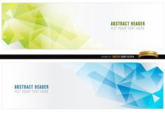 Abstract blue and green polygonal headers. These are perfect to add some elegancy and style to your or website header. High quality JPG included. Under Commons 4.0. Attribution License.