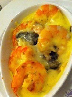 Gratin+de+crevettes+aux+épinards+et+sauce+crémeuse++(compatible+dukan)