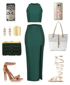 """""""Inighi Maxi Crop Set"""" by eme-bassey on Polyvore featuring Gianvito Rossi, Balmain, Alaïa, IMoshion, Irene Neuwirth and Lydell NYC"""