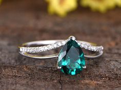 5x7mm pear shaped lab treated emerald engagement ring14k
