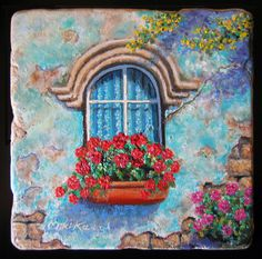 Old is Beautiful. the Turquoise Window.  This Colorful painting is reminiscent of the colors of the Mediterranean Blue, turquoise and a lots of