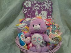 Care Bear Gift Basket from Connie's Creations Easter Baskets For Toddlers, Easter Crafts For Kids, Craft Stick Crafts, Diy Crafts, Barbie Fashionista Dolls, Themed Gift Baskets, Boyfriend Crafts, Pig Party, Easter Bunny Decorations