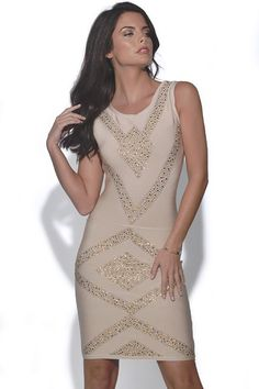 Shine after dark in this fabulous Jewel Embellished Nude Bandage Dress  Complete the look with our Nude Patent Peep Toe Pumps  Sleeveless nude bandage dress crafted from a luxe heavyweight fabric designed to create a perfect hourglass figure finished with a varying jewel embellished design  S = UK Size 8-10 M = UK Size 10-12 L = UK Size 12-14  Style Code: 3798