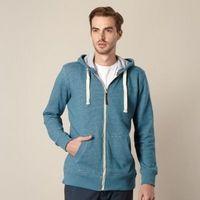 Big and tall dark turquoise textured zip through hoodie