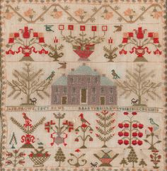 Scottish Sampler ~ 1817 ~ George III ~ Worked overall in colored silk threads on a linen gauze and depicting floral designs with trees, urns issuing flowers and birds, centered with a depiction of a large Georgian house with 'Jane Brown Embroidery Sampler, Cross Stitch Embroidery, Embroidery Patterns, Cross Stitching, Cross Stitch Designs, Cross Stitch Patterns, Cross Stitch Samplers, Needle And Thread, Fiber Art
