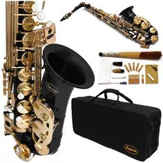 #360-BK #- BLACK/Gold Alto Saxophone Lazarro+12 Reeds,Music Pocketbook,Pro Case and Care Kit - 12 COLORS Available ! CLICK on LISTING to SEE All #Colors   really love it!   http://amzn.to/HF27Bv