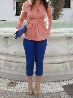 lovelystyle Outfit   Primavera 2012. Combinar Camisa-Blusa Rojo suave Max Azria, Pantalones Azul Klein Blanco, Tacones-Plataformas Beige Savida, Cómo vestirse y combinar según lovelystyle el 7-5-2012