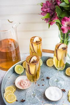 These Apple Cider Champagne Margaritas are light and refreshing twist on a classic. The cider flavors mixed with the cinnamon and sugar spiced rim is a delightful combination. Pink Champagne Margarita, Champagne Cocktail, Sparkling Wine, Cocktail Drinks, Fun Cocktails, Summer Drinks, Alcoholic Cocktails, Party Drinks, Sorbet