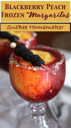 Blackberry Peach Frozen Margaritas are the perfect hot weather drink. Use good quality liqueurs, fresh limes, frozen fruit, and plenty of ice! | suebeehomemaker.com | #blackberrypeach #frozenmargaritas #margaritas #cocktailhour #happyhour #cocktails