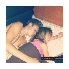 Justin Bieber Sleeping & Cuddling lil sister Jazmyn Shirtless — JUSTIN... ❤ liked on Polyvore