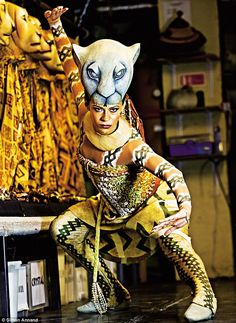 """'The mask is 27cm wide from ear to ear and 26cm high. My three-year-old son loves kissing my mask because it looks like a teddy bear to him,' said Ava - """"Ava Brennan plays lioness Nala in 'The Lion King' at London's Lyceum Theatre"""""""