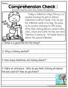Comprehension Check- Read the short story and answer the questions. These Reading Comprehension Checks with help build FLUENCY and COMPREHENSION!