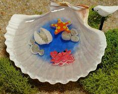 Miniature Tidal Pool in Seashell Fairy Garden Miniatures Miniature Garden Dollhouse Miniatures Crab Starfish Fairy Garden Accessories Miniature Crafts, Miniature Fairy Gardens, Fairy Garden Houses, Fairy Gardening, Fairy Tree, Fairy Garden Accessories, Seashell Crafts, Resin Crafts, Resin Art