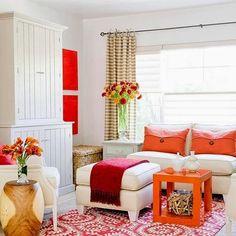 Orange Decor for Living Room . 35 Lovely orange Decor for Living Room . Small Living Rooms, Home And Living, Living Room Designs, Living Room Decor, Modern Living, All White Room, White Walls, White Rooms, Living Room Orange