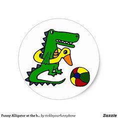 Shop Funny Alligator at the beach Cartoon Ceramic Tile created by tickleyourfunnybone. Beach Humor, Funny Beach, Alligator Crafts, Alligator Tattoo, Beach Cartoon, Life Preserver, Change Background, Round Stickers, Beach Themes