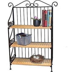 4D Concepts 3 Tier Bookcase in Wicker and Metal - 143014