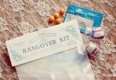 {personal hangover helper kits} Take care of the morning-after with a  little personal hangover helper kits. Must-haves include bottle water, Advil, Alka Seltzer, chapstick, a cooling eye-mask and flip flops or foldable flats (because no one should have to walk home in heels). If you don't have time (or the will) to make your own, you can buy ready-made kits or just have over-the-counter remedies on hand like Aspirin. Blowfish also works wonders!