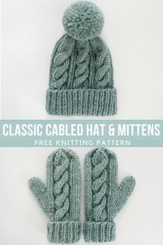 Free Knitting Pattern - Classic Cabled Hat and Mittens knit hat patterns Free Knitting Pattern - Classic Cabled Hat and Mittens Knitted Mittens Pattern, Knitting Socks, Free Knitting, Knitted Hats, Knitting Scarves, Cable Knitting Patterns, Free Knitted Hat Patterns, How To Knit Mittens, Knitting Ideas