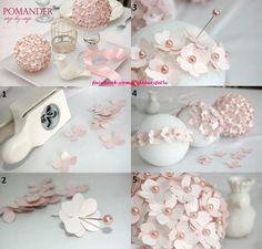 Evlerinize güzel dekorlar için, yapımı çok kolay çiçek topu :)