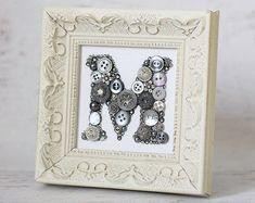 Button Letters, Button Art, Button Crafts, Monogram Letters, Monogram Initials, Framed Monogram, Wood Letters, Monogram Fonts, Framed Wall