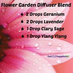 A great spring time and happy blend of essential oils greatest this flower garden diffuser blend.  Essential oils used are lavender, clary sage, ylang ylang and geranium.