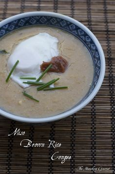 Miso Brown Rice Congee: A love this simple, traditional Asian breakfast. A recipe from my cookbook.