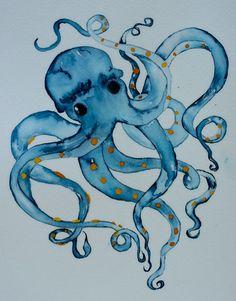 Nautical watercolor art blue octopus signed PRINT by ssbaud Watercolor Fish, Watercolor Paintings, Watercolors, Kraken, Octopus Art, Sign Printing, Wildlife Art, Beach Art, Art Inspo