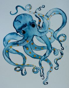 Nautical watercolor art blue octopus 8x10 signed PRINT blue and orage 8x10
