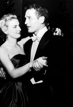 Joanne Woodward and Paul Newman at Academy Award after-party, she won the Oscar for Best Actress for her role in Three Faces of Eve directed by Nunnally Johnson, 1958