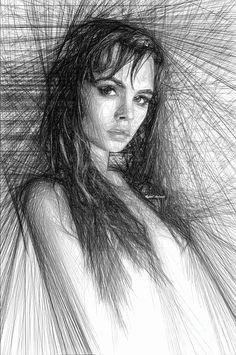 Pretty Girl Sketch Digital Art by Rafael Salazar