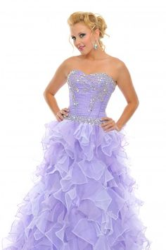 @Precious Formals O10454 Strapless purple ballgown with ruffled skirt #Prom #Dresses #IPAProm #Prom360