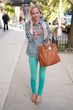 J.Crew striped shirt, colorful jeans and Michael Kors bag