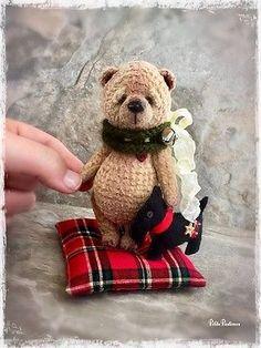Scottie - An OOAK Miniature Crochet Bear Doll by Thread Artist PetitePastimes