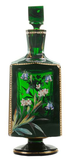 Glass Cologne Bottle Bohemian, 3rd quarter 19th century, trapezoidal form, beautifully detailed and colored with different flowers and foliage on each panel, 7-1/2 in.  Provenance: Creech Collection, North Carolina