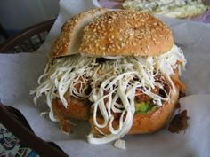 I miss these. Cemitas, only in Puebla, or only in real Pueblan restaurants.